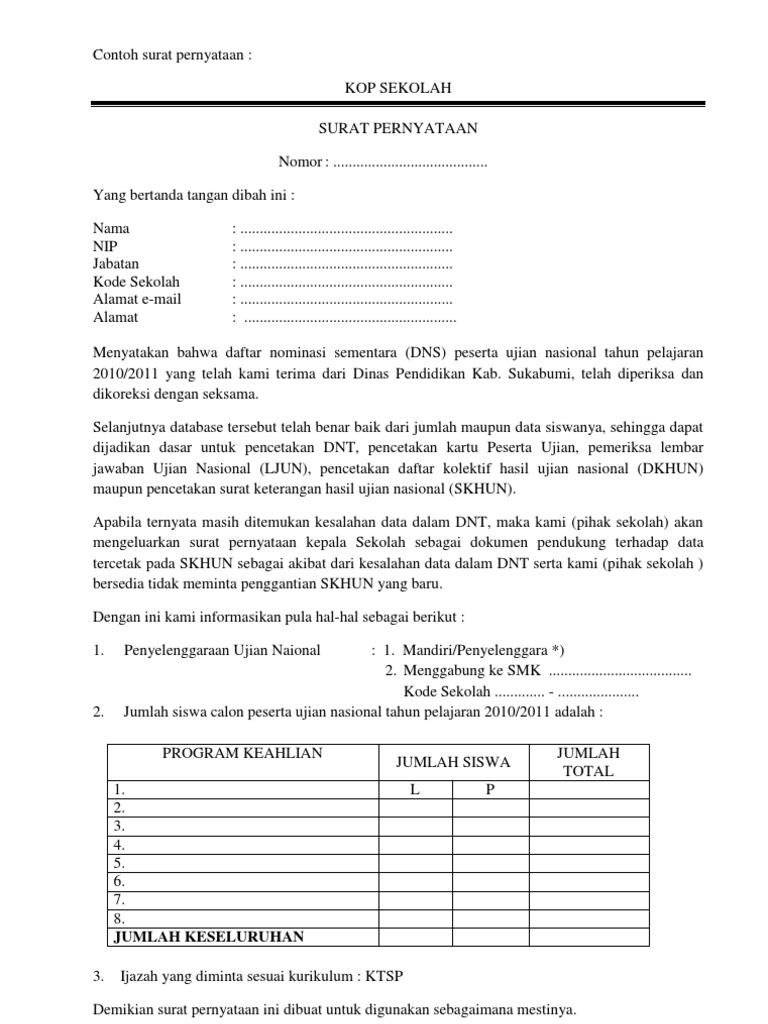 Contoh Surat Pernyataan Sekolah - Simak Gambar Berikut