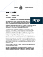 Resignation Statement by Stephane Dion