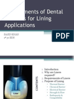 Requirements of Dental Cements for Lining Applications