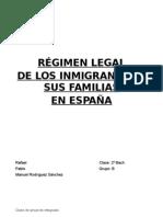 La inmigración régimen legal