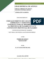 Perfil de Proyecto Vi Convencion Provincial de Fajardo - Apongo (Correccion Final) 2003