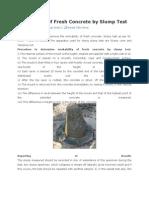 Work Ability of Fresh Concrete by Slump Test