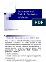 Calcolo Simbolico Matlab