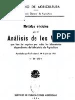 """""""Métodos Oficiales para el Análisis de los Vinos"""" por el Servicio de Publicaciones Agrícolas 1934"""