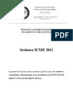 Tematica Biblografia Licenta Iun 2011