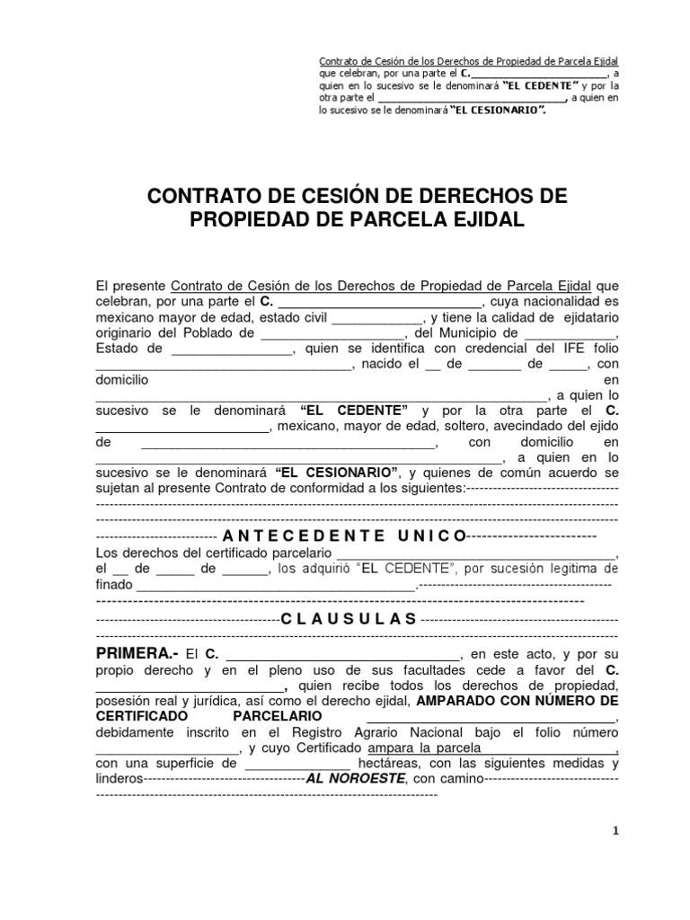 machote contrato cesion derechos ejidales