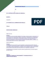 LEY ORGÁNICA DE LA ADMINISTRACIÓN PÚBLICA