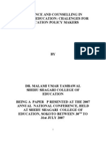 Guidance and Counselling in Teacher Education Chalenges for Education Policy Makers