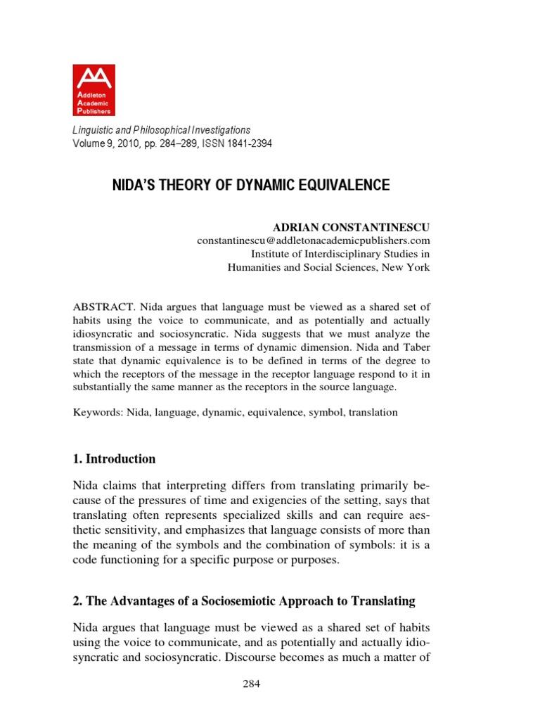 Nidas theory of dynamic equivalence translations theory biocorpaavc