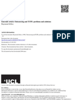 Outsourcing and TUPE-Problems and Solutions