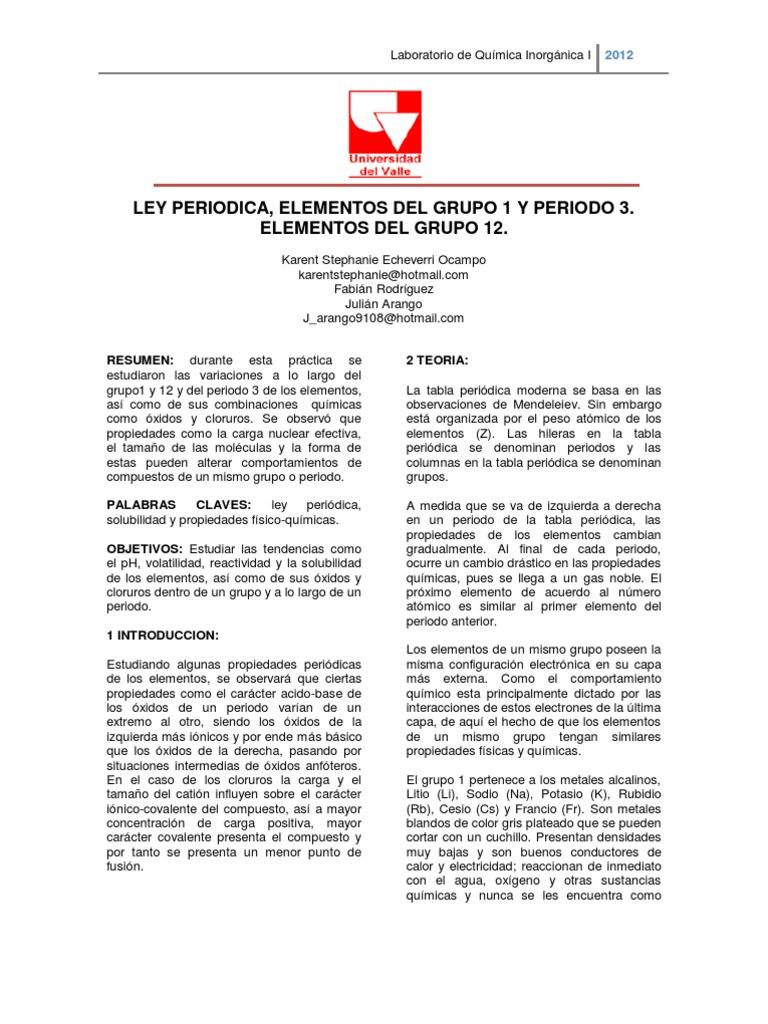 ley periodica - Tabla Periodica Elementos De Un Mismo Grupo