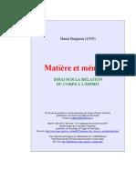 Bergson Matiere Et Memoire