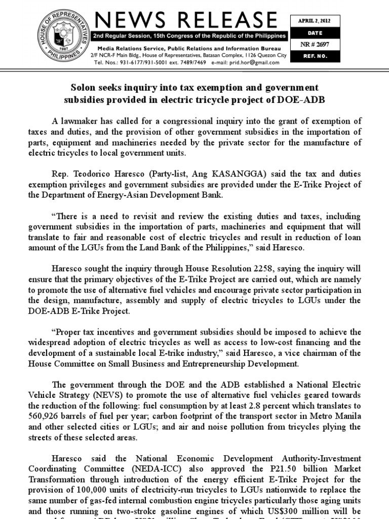 April 2 Solon seeks inquiry into tax exemption and government