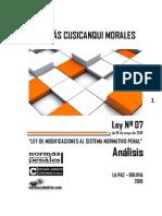 Analisis Ley Nº 7 Modificaciones al Sistema Normativo Penal (Bolivia)