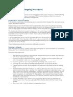 Earthquake and Emergency Procedures