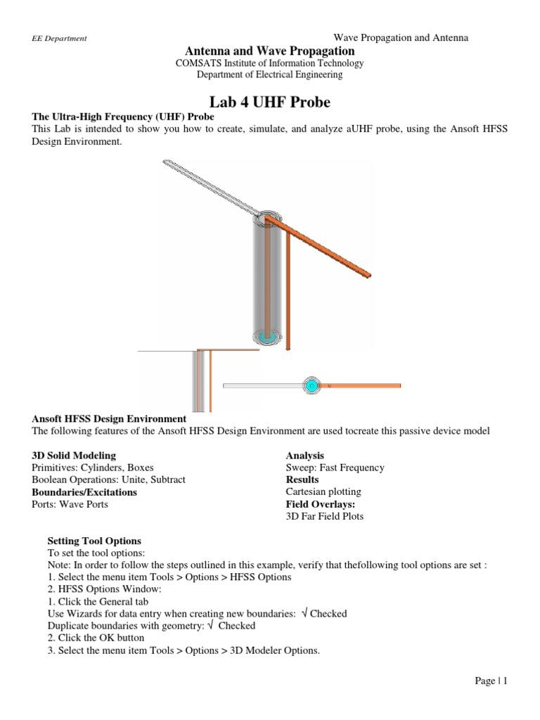 LAB 4 HFSS | Antenna (Radio) | Menu (Computing)