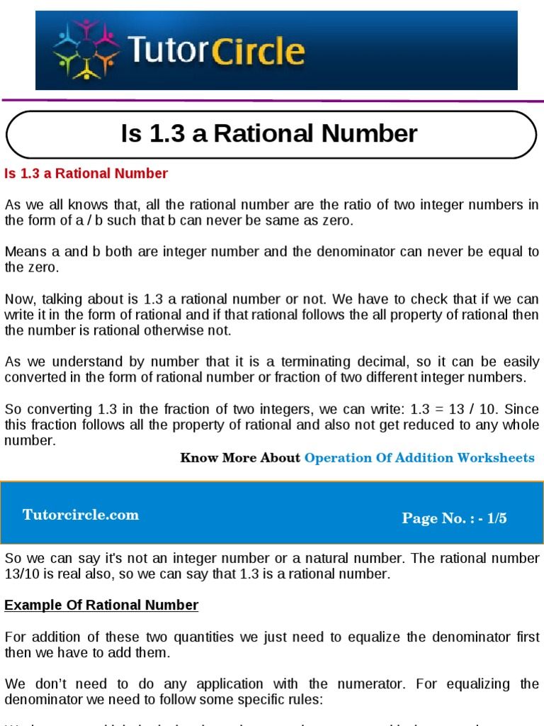 Is 13 a Rational Number Rational Number – Rational and Irrational Numbers Worksheet