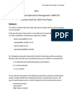Final Question Paper- Question Bank - Production and