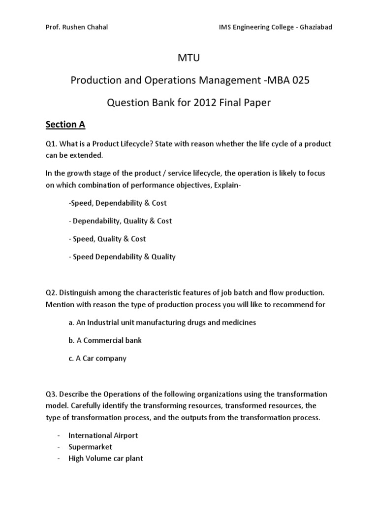 Final Question Paper- Question Bank - Production and Operations