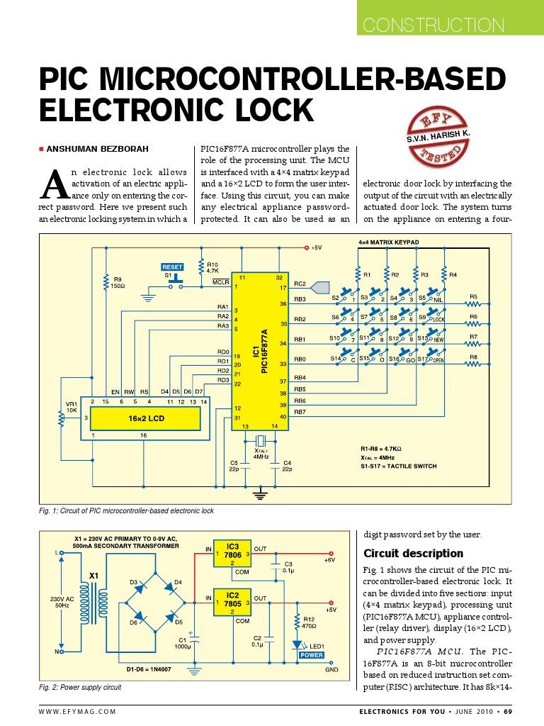 Password Based Door Lock System Using 8051 Microcontroller Digital Electronic Code
