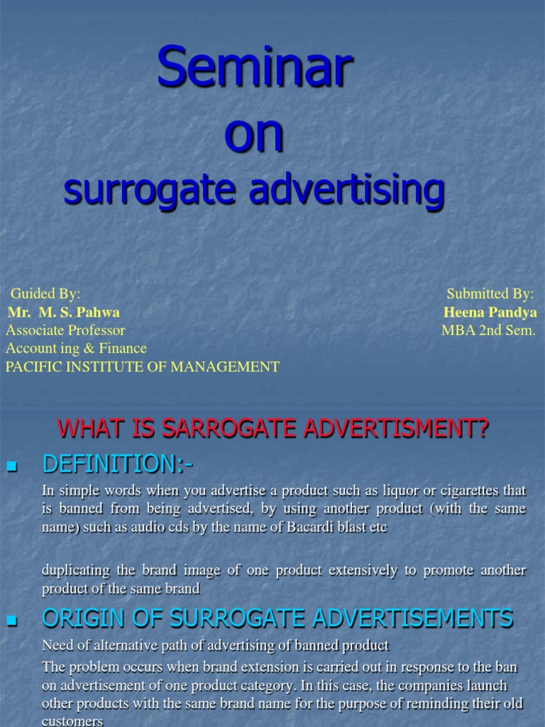 surrogate advertising ppt | billboard | advertising