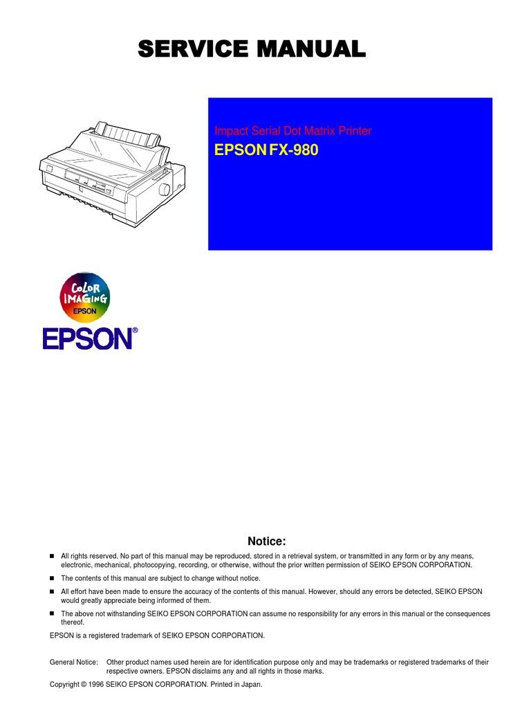 epson fx 980 service repair manual download