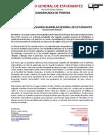CGE A13-01-12 Comunicado de Prensa - Convocan Segunda Asamblea General de Estudiantes