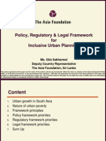Sri Lanka Policy, Regulatory & Legal Framework or Inclusive Urban Planning