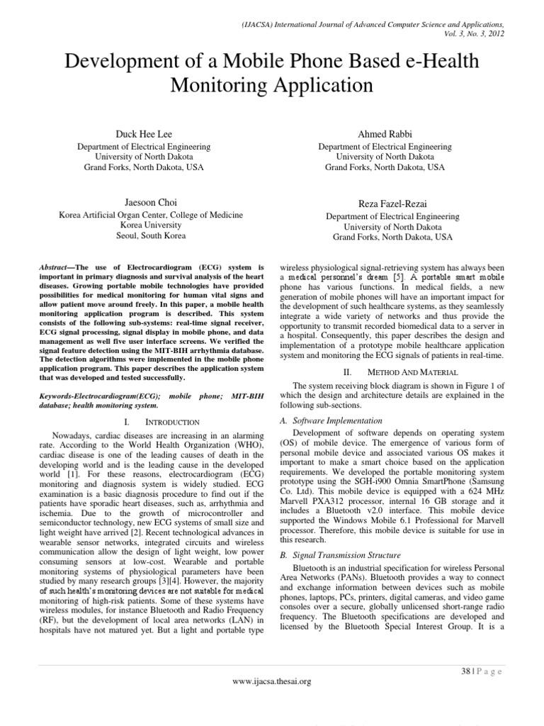 Paper7-Development of a Mobile Phone Based E-Health