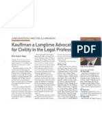 Kauffman a Longtime Advocate for Civility in the Legal Profession