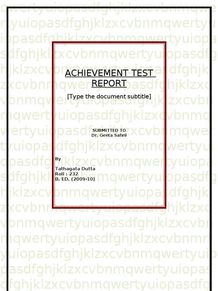 Final achievement test report educational assessment statistics malvernweather Choice Image