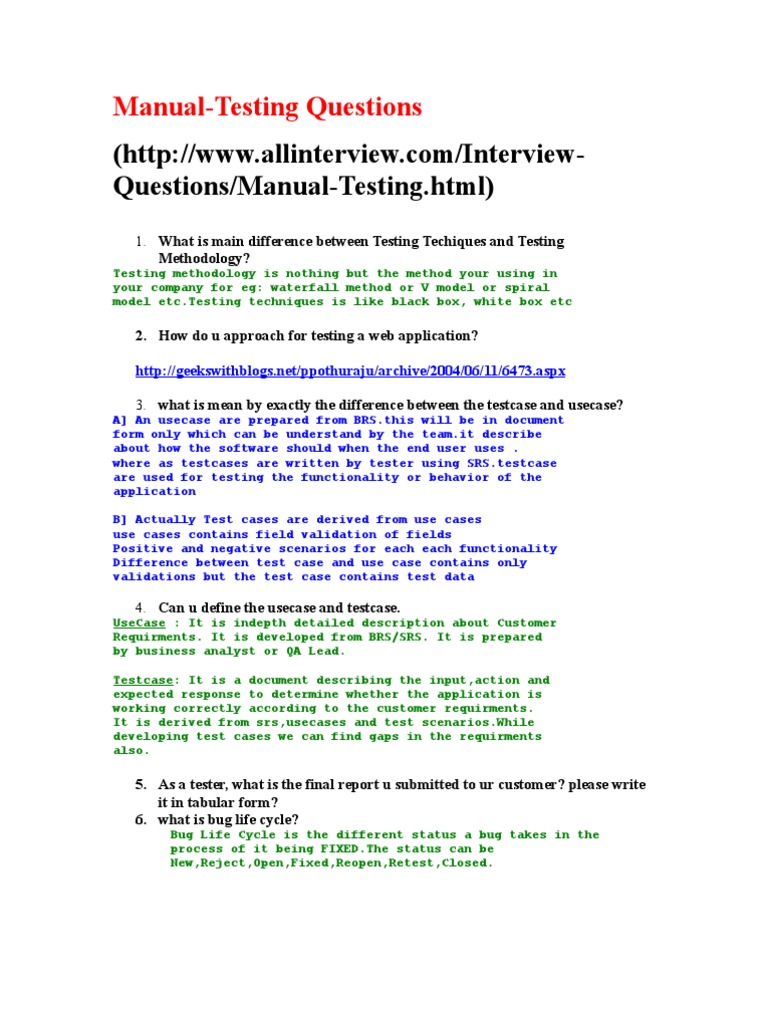 manual testing interview questions