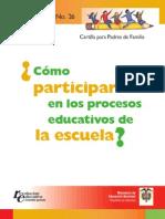 Cartilla Para Padres de Familia Participar Procesos Educativos de La Escuela