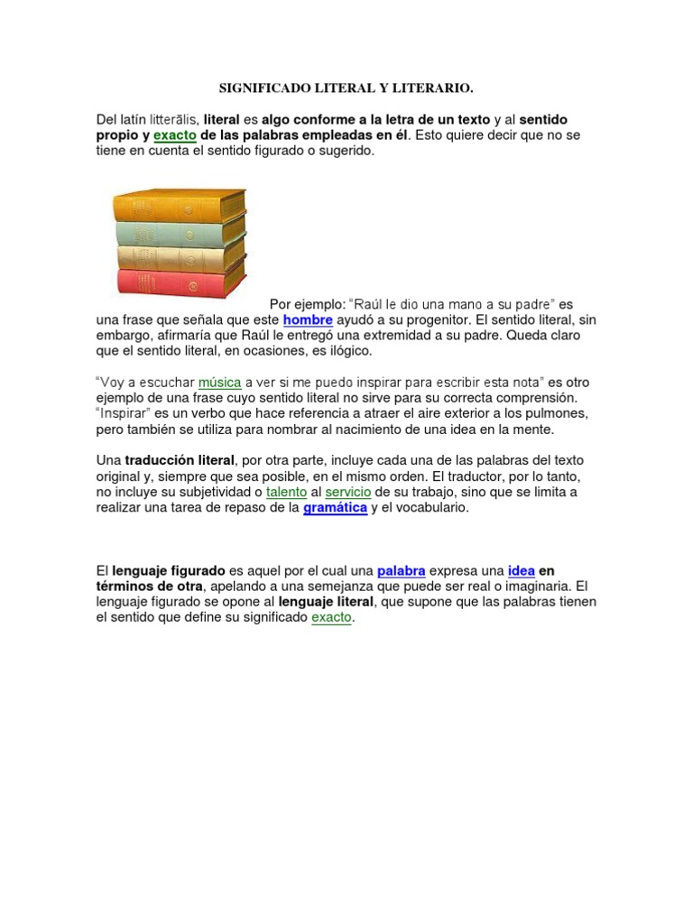 Significado Literal Y Literario Traducciones Palabra