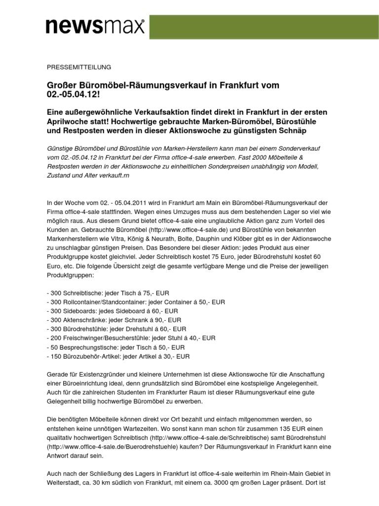Großer Büromöbel-Räumungsverkauf in Frankfurt vom 02.-05.04.12!