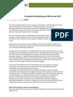 CompuMaster GmbH empfiehlt Umstellung auf MS Access 2010