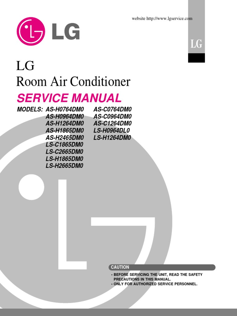 LG Split Type Air Conditioner Complete Service Manual Air