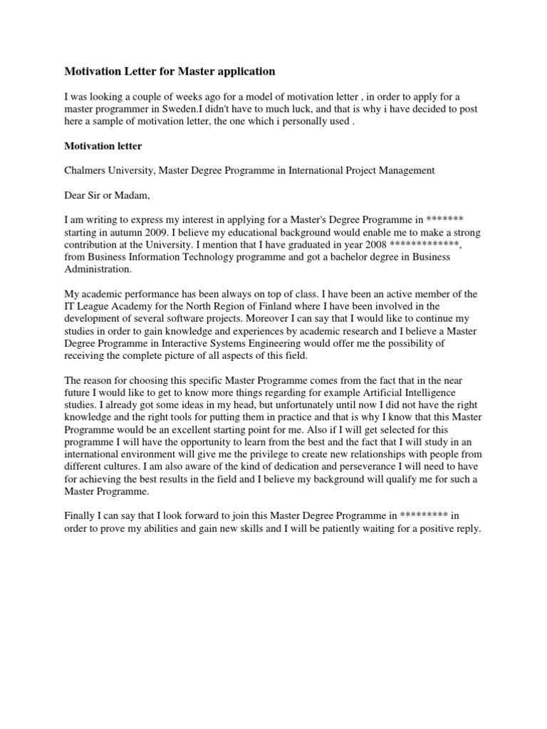 Motivation letter for master application economics microeconomics mitanshu Gallery