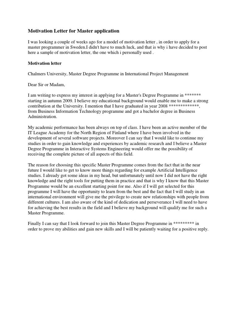 motivation letter for master application economics microeconomics