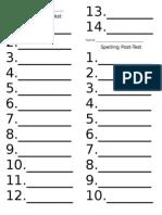 Grade 1 spelling posttests unit 2on
