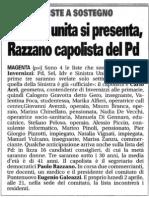 Sinistra unita si presenta, Razzano capolista del Pd