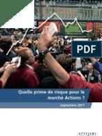 Quelle prime de risque pour le marché Actions -Sept 2011-