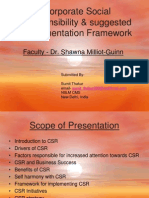 Corporate Social Responsibility & suggested Implementation Framework