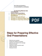 Steps for Oral Presentations