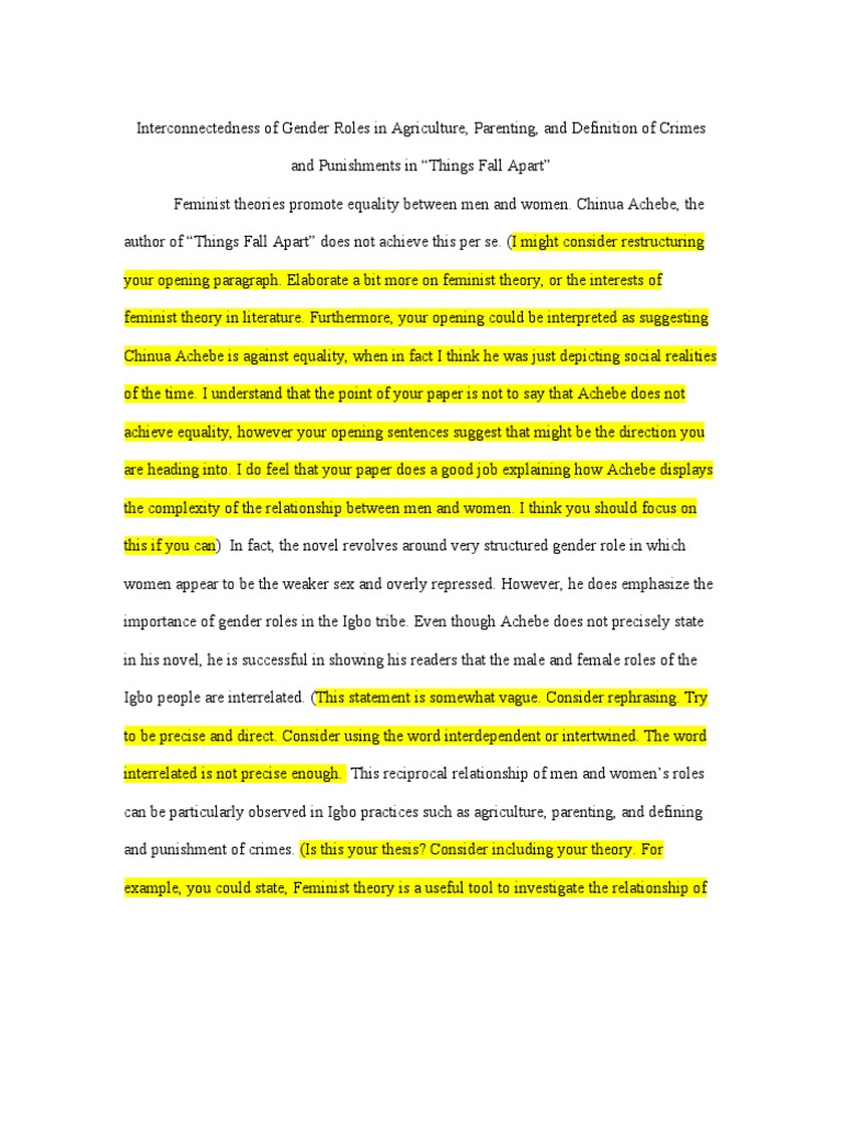 Gender Roles Things Fall Apart Essay Feminist Theory Gender Role