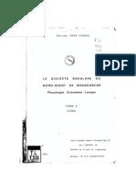 Bare-Thomas, Dominique. 1976. Le dialecte sakalva du Nord-Ouest de Madagascar. Phonologie - Grammaire - Lexique. Tome II. Lexique.