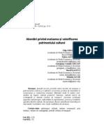 Abordări privind evaluarea şi valorificarea  patrimoniului cultural - 2011