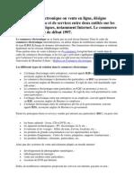 Introduction ; Le commerce électronique ou vente en ligne