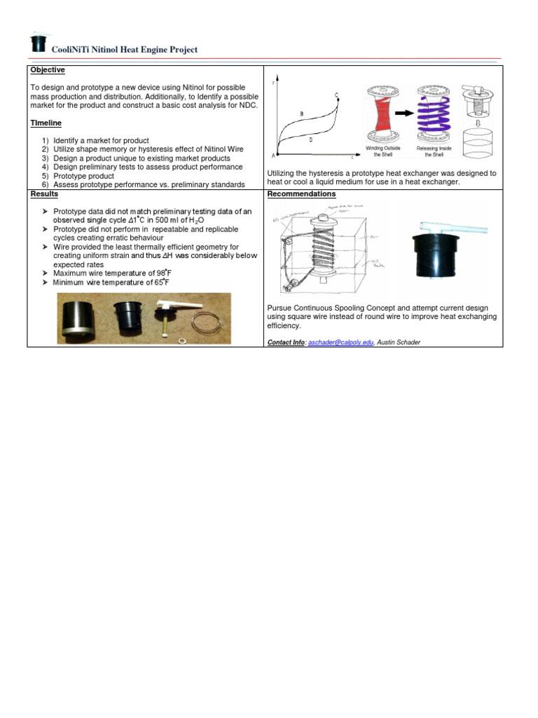 Cooliniti Nitinol Heat Engine Project: Objective
