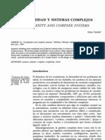 Complejidad y Sistemas Complejos Tarride